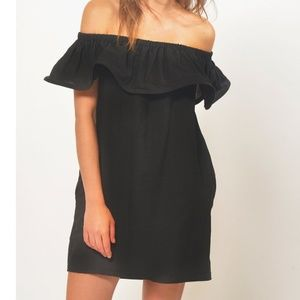 Line and Dot Concord Off The Shoulder Linen Dress